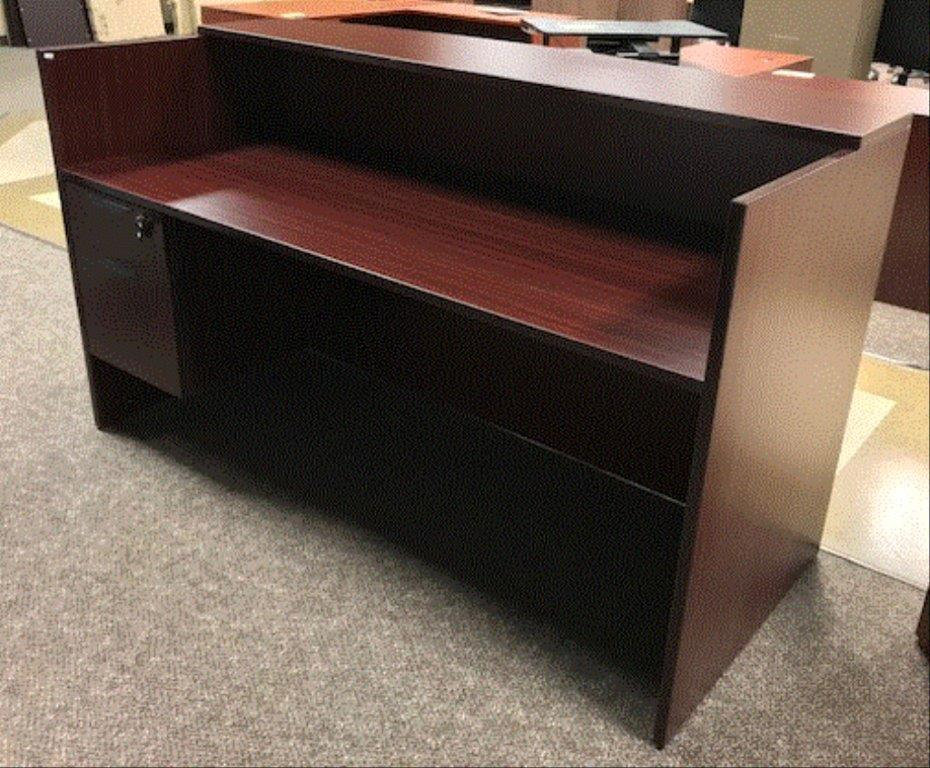 laminate receptionist reception with furniture owned pre hunter desks hutch office desk maple used