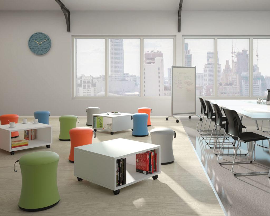 Ergonomic stools in bright colours.