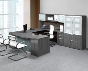 Classic Plus Workstation with optional hutch and storage cabinet