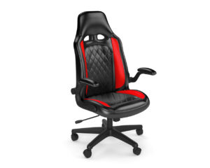 Mario gaming chair with red and black bonded leather
