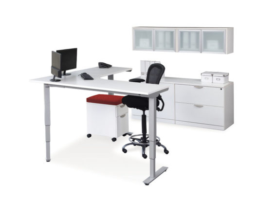 Standing desk with storage cabinets