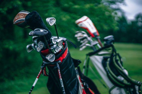Golf clubs on a golf course