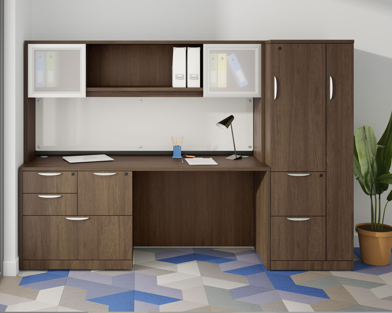 Computer Desk With A 3 4 Box File Pedestal